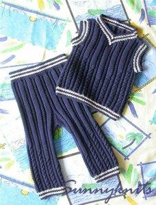 Полоска и спиралька - стильный костюм спицами