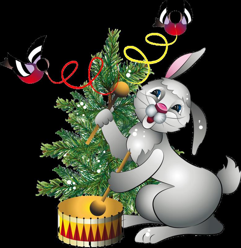 Днем рождения, новогодние картинки с зайчиками