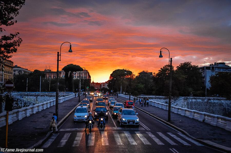 Один день в Риме. На улицах города.