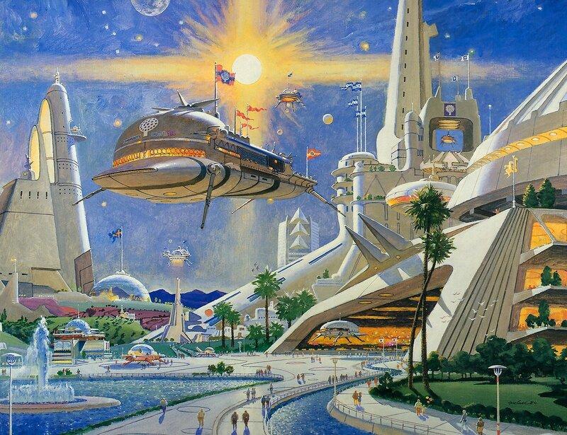 Город в космосе рисунок