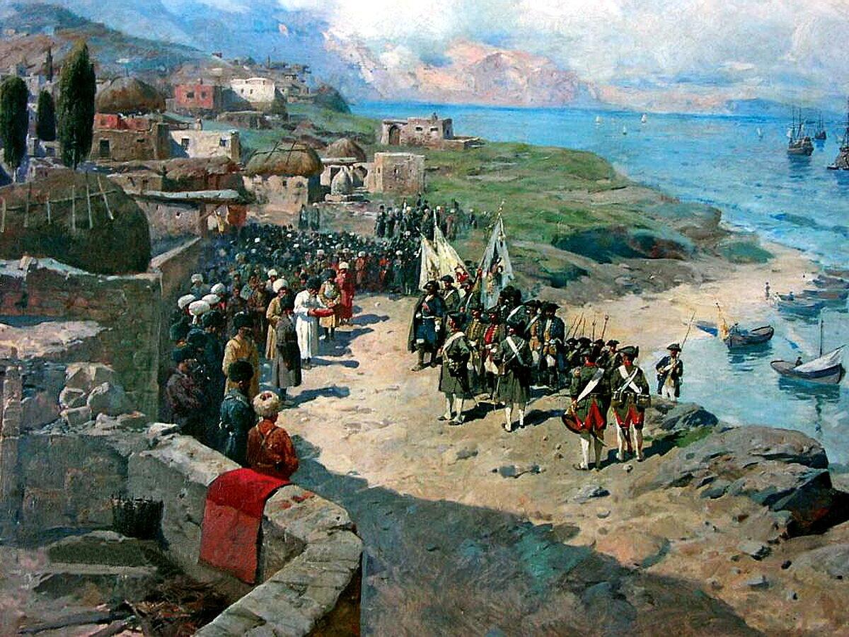 Рубо Франц Алексеевич (1856-1928). Вступление императора Петра I Великого в Тарки 13 июня 1722 года