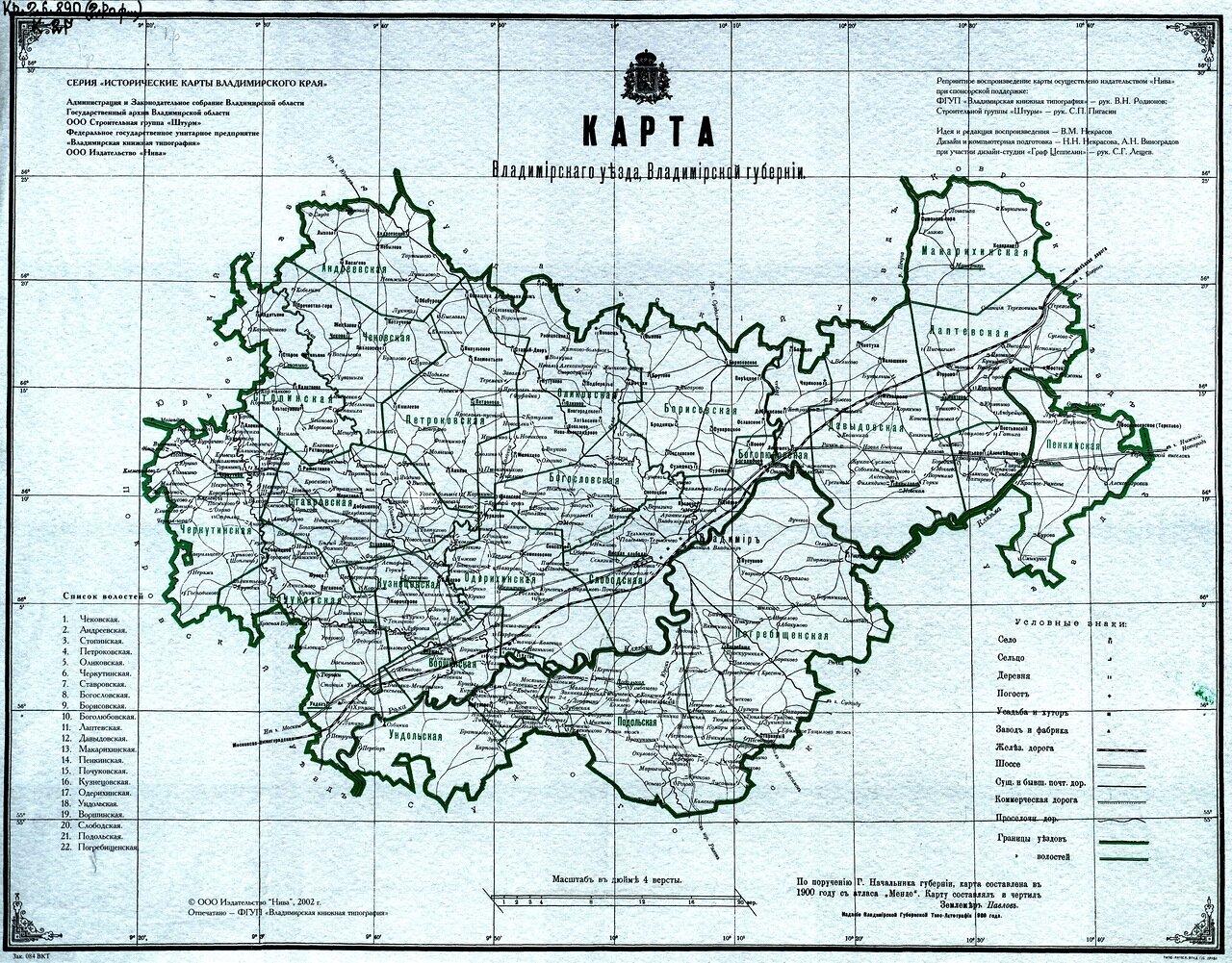 1900. Карта Владимирского уезда, Владимирской губернии.
