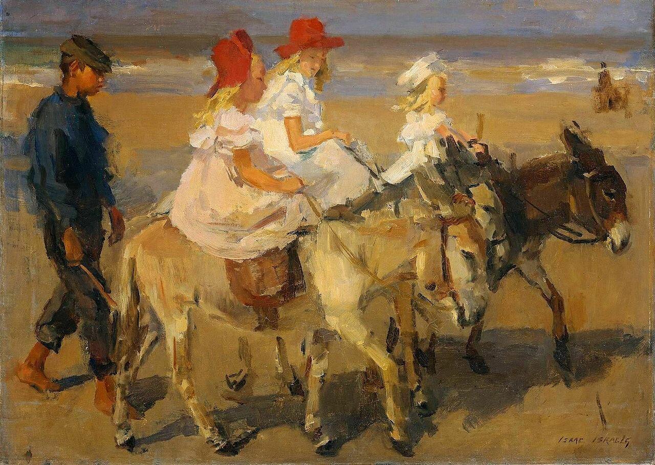 Прогулка на ослах по берегу (1898-1900) Исаак Исраэлс (1865-1934)