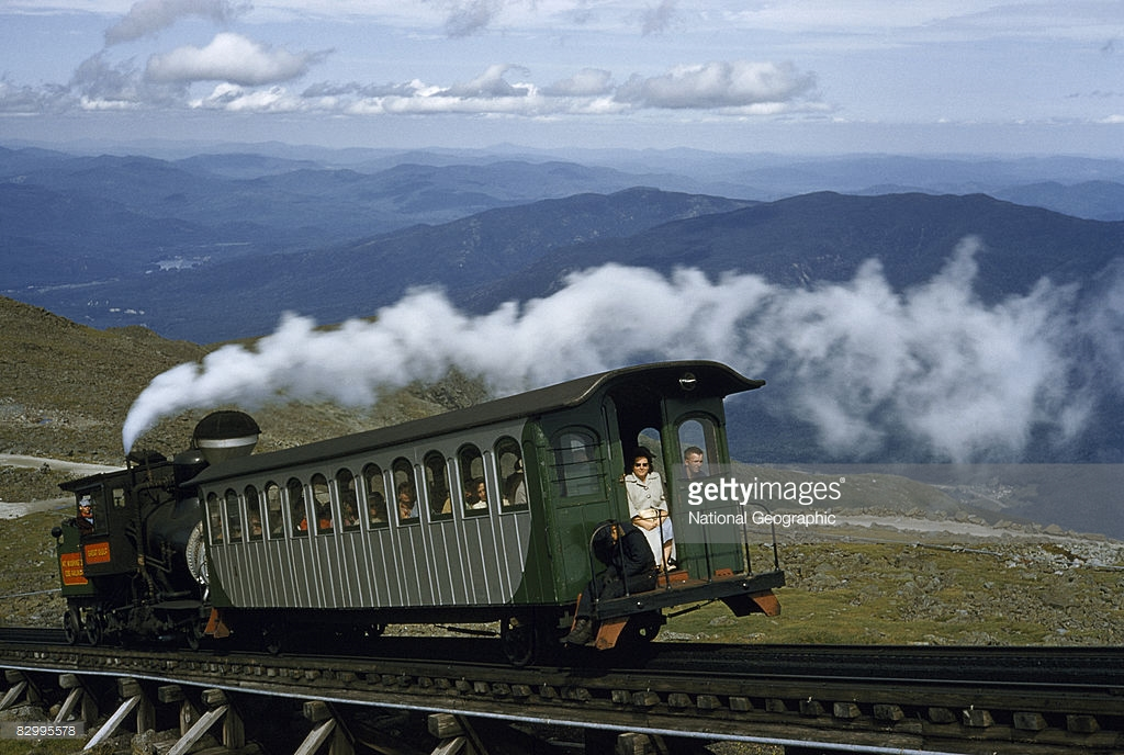 1955 Cog train locomotive pushes passenger car up Mount Washington, Mount Washington, New Hampshire by B. Anthony Stewart.jpg