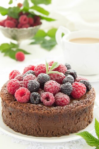 Chocolate mousse cake with raspberries.