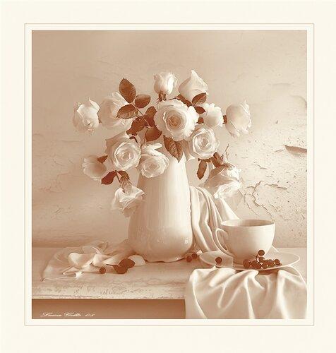Волшебство белых роз открытка поздравление картинка