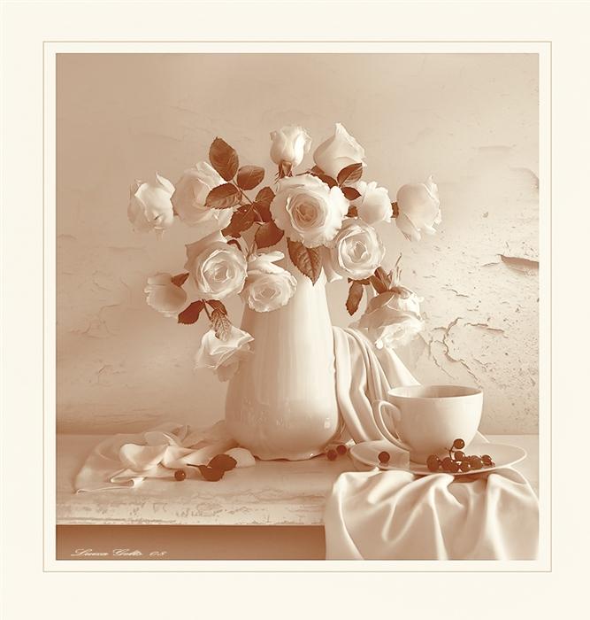 Чари білих троянд листівка фото привітання малюнок картинка