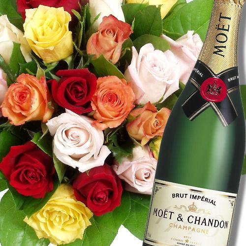Троянди і шампанське листівка фото привітання малюнок картинка