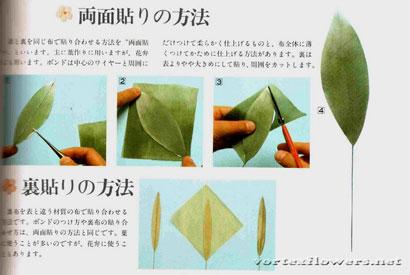 Двухслойные листья для цветка из ткани.