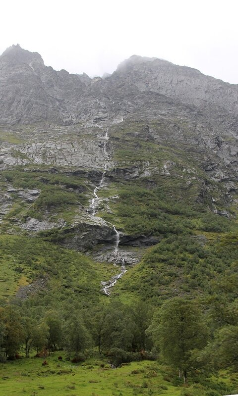 Eidsdalen valley. Mountains, waterfall