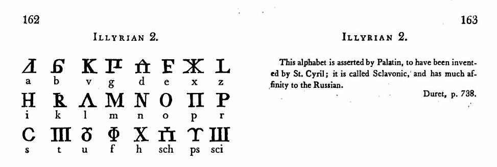 P. 162-163. ILLYRIAN 2. This alphabet is asserted by Palatin, to have been invented by St. Cyril; it is called Sclavonic, and has much affinity to the Russian. Durct, p. 738.