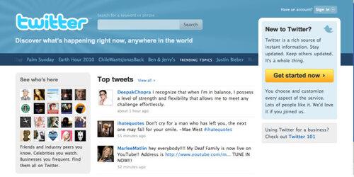 Twitter с новой домашней страницей