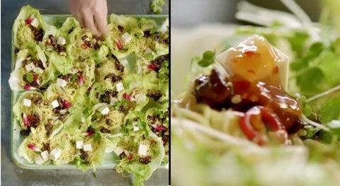 Подача блюда - утка с салатом, пастой и тофу
