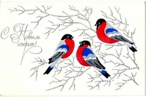 Снегири. С Новым годом! открытка поздравление картинка