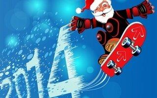 С Новым годом! Дед Мороз освоил скейтборд и летит на нем! открытка поздравление рисунок фото картинка