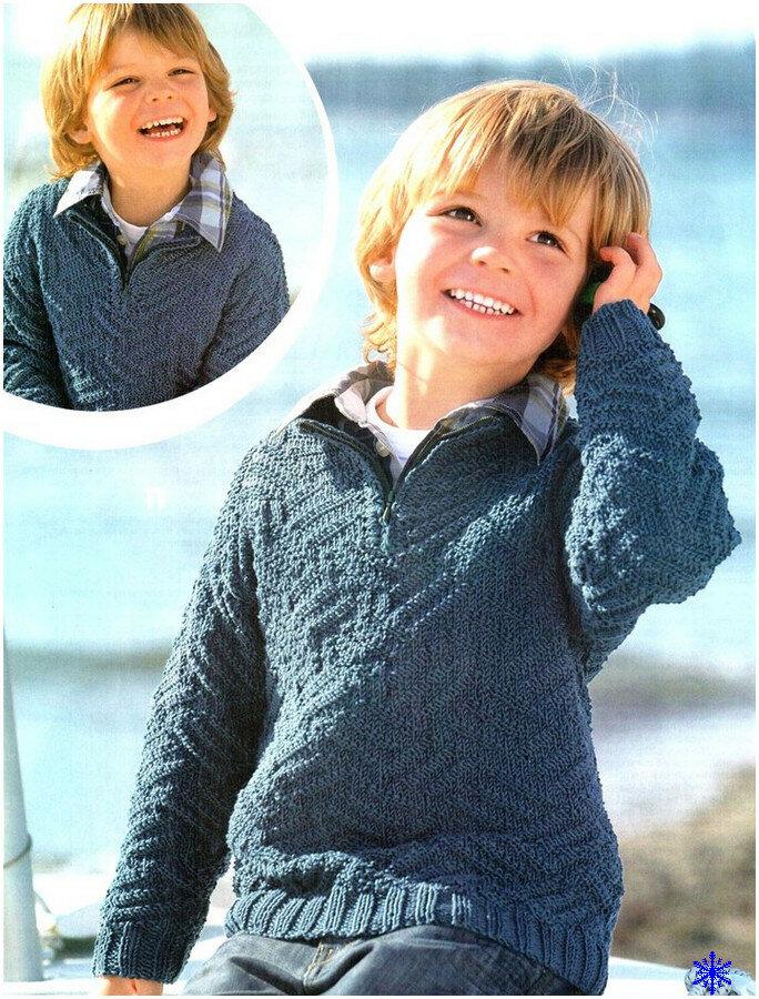 Вязание спицами свитер для мальчика 5-6 лет 74