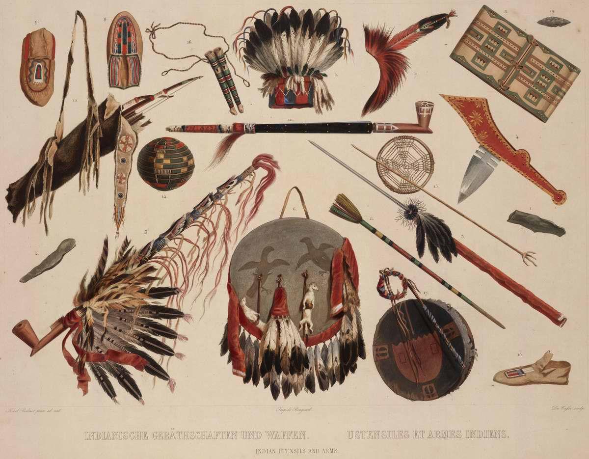 Индейские бытовые принадлежности и оружие (1) - Karl Bodmer