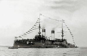 Эскадренный броненосец «Князь Суворов» на Ревельском рейде, сентябрь 190