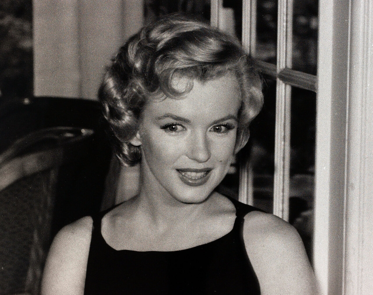 Entertainment. Cinema. London, England. 16th July 1956. American film star Marilyn Monroe at a reception. Marilyn Monroe was one of the most glamorous female stars of her era.