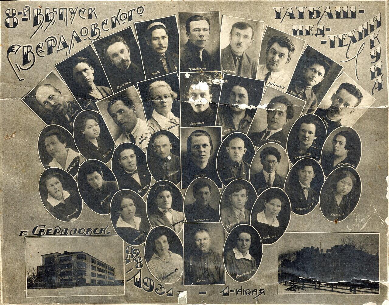 1931. 8 выпуск Свердловского Татаро-Башкирского педтехникума