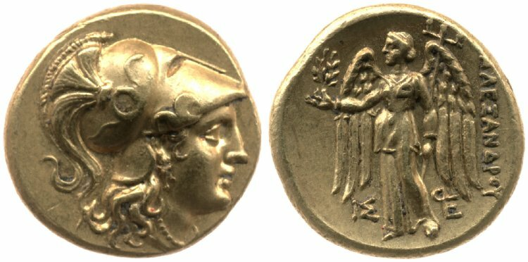 Gold Coin (Sater) of Athena with Nike on the reverse 225-190 BC Greek