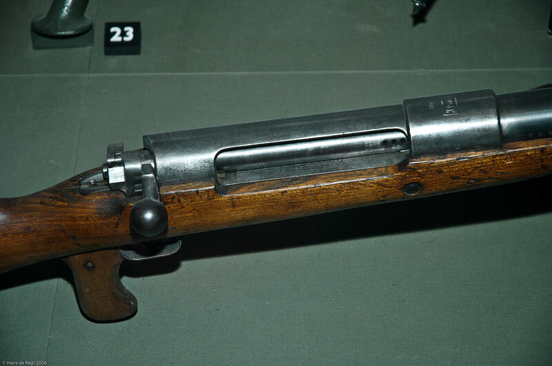 The bolt of the huge Mauser Tank Gewehr 1918, the world's first anti-tank gun.In fact the design was a Mauser rifle, doubled in size, thus firing 13mm rounds.The T Gewehr (or Tankgewehr) was designed in repsonse to the appearance of allied tanks on