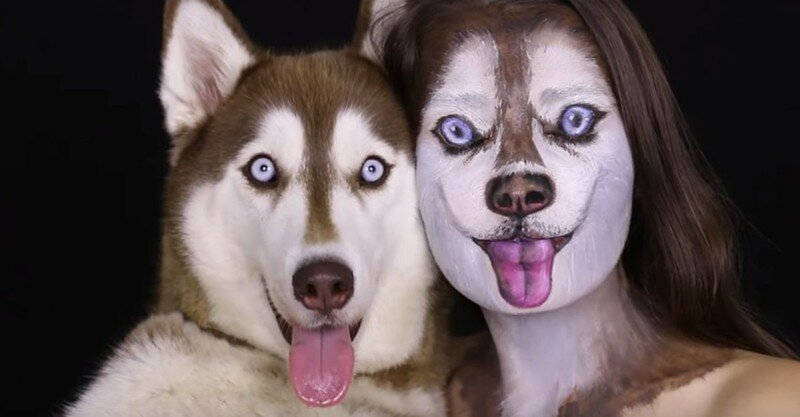 Хаски и девушка с макияжем.