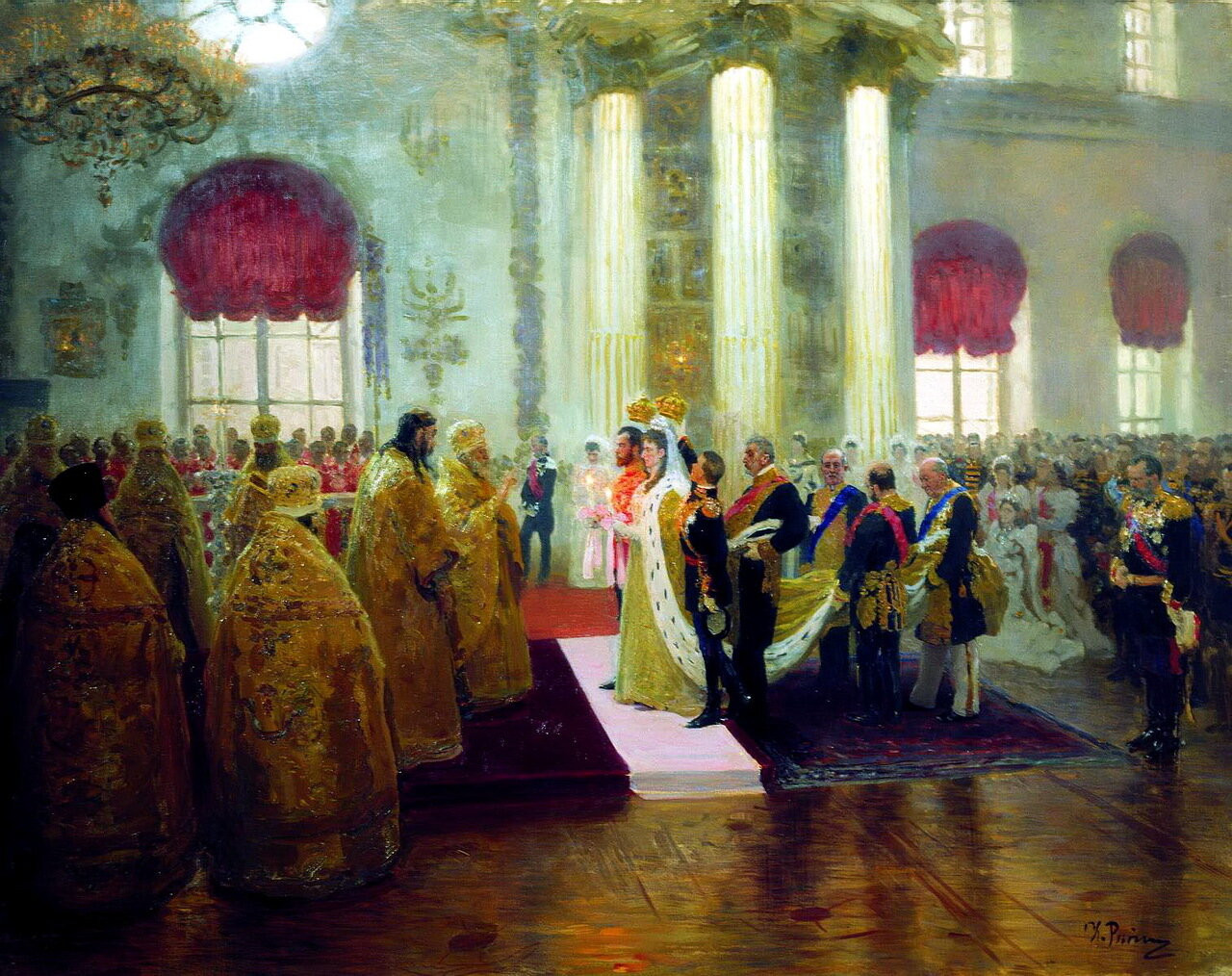 Илья Ефимович Репин (1844–1930). Венчание Николая II и великой княжны Александры Федоровны