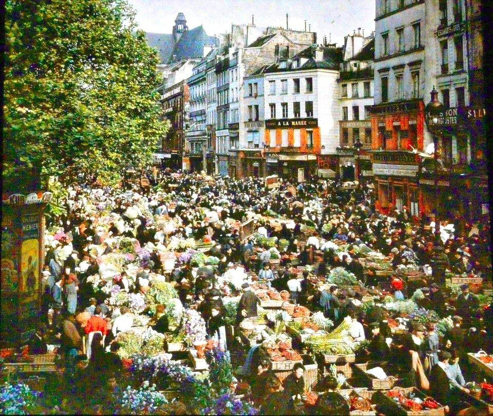 1914. Рынок на улице Rambuteau.