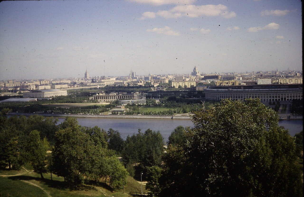 Round building is Luzhniki sports complex built in 1950s.  View from Lenin Hills, Moscow, USSR