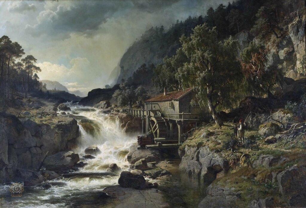 Йохан Эдвард Берг: Скалистый пейзаж с водопадом и Водяной мельницей, Смоланд