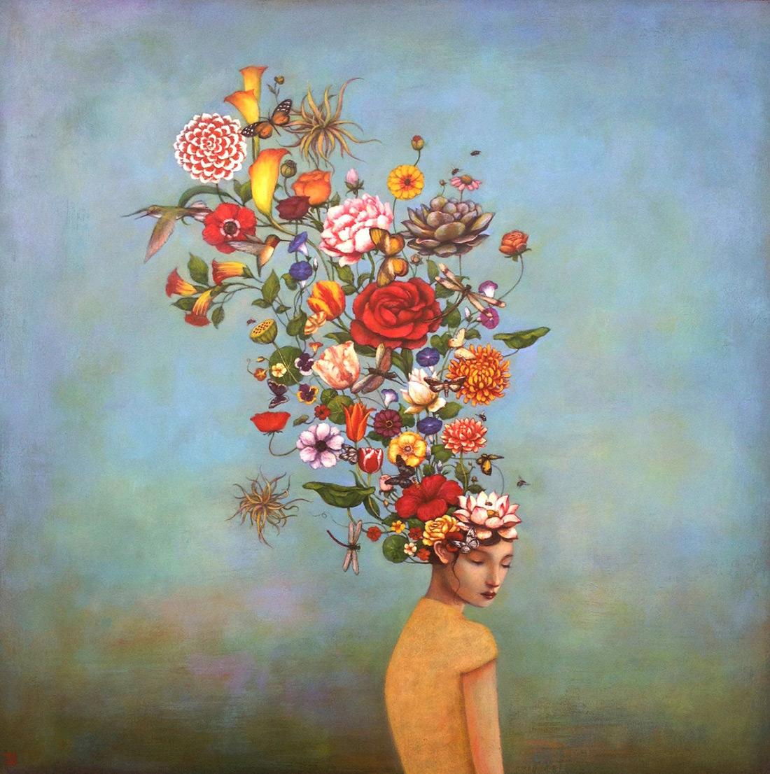 North Carolina-based painter Duy Huynh ( previously ) infuses his acrylic paintings with whimsical e