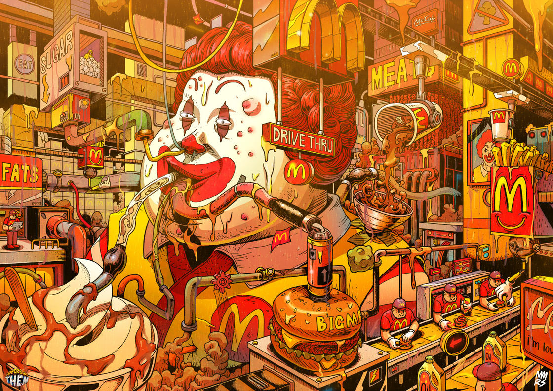 The hell of fast foods summed-up in three striking illustrations (10 pics)