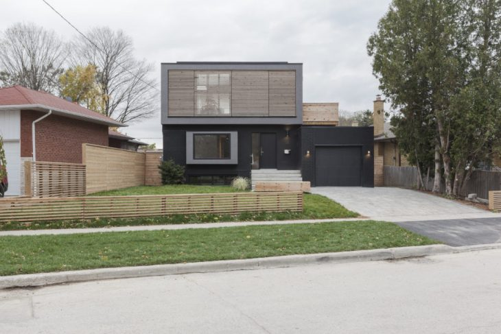 The product of a gut renovation and second-storey addition to an existing brick bungalow on the sout