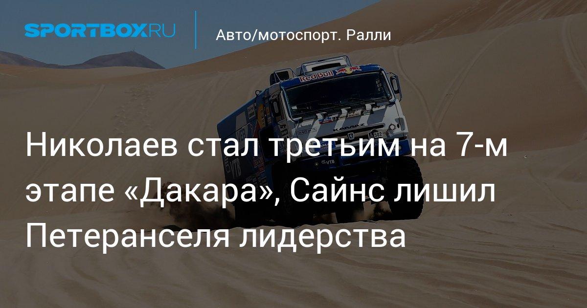 Авто/мотоспорт. Николаев стал третьим на 7-м этапе «Дакара», Сайнс лишил Петеранселя лидерства