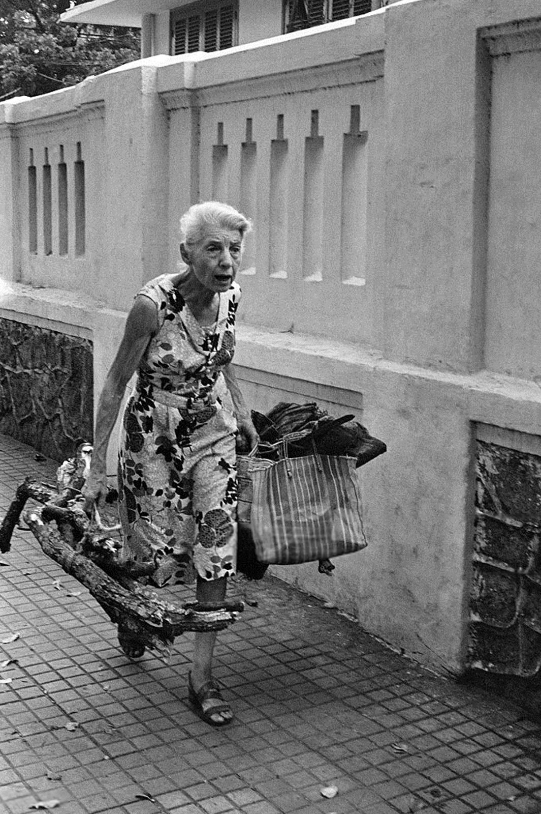 На снимке, сделанном в Сайгоне в апреле 1975 года, изображена пожилая европейская женщина, блуждающая по пустым улицам с мешками и куском дерева за несколько дней до захвата столицы Южного Вьетнама