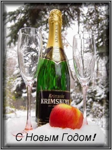 С Новым годом! Шампанское и яблоко на снегу