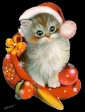 Котенок с Новогодними игрушками и в шапочке открытки фото рисунки картинки поздравления