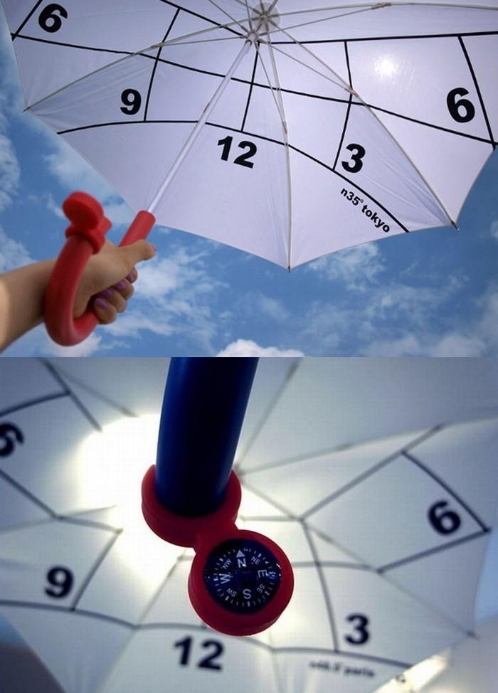 2. Зонт — солнечные часы Зонт от японского дизайнера Kota Nezu, оборудованный компасом и солнечными