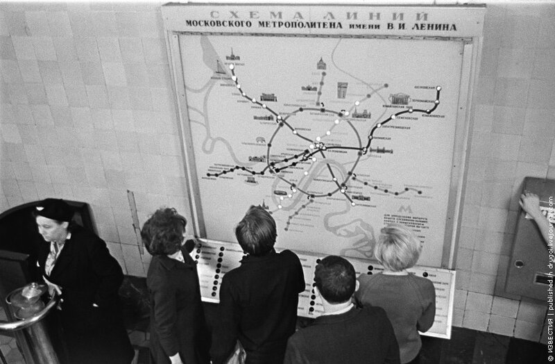 Виктор Ахломов, «Карта московского метрополитена», 1967 год.