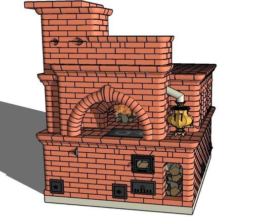 Проекты печей каминов и барбекю в программе sketchup маринад барбекю курицы