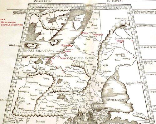 Карта находок римских монет