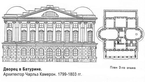 Дворец в Батурине, чертежи