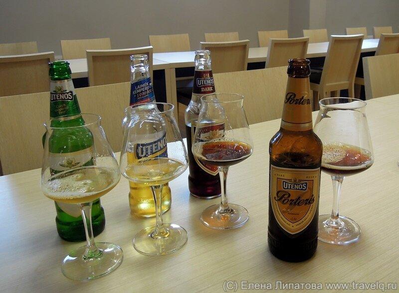 Дегустация 4 сорта пива: Pilsener, Utenos Utenos, Utenos Dark и Utenos Porter