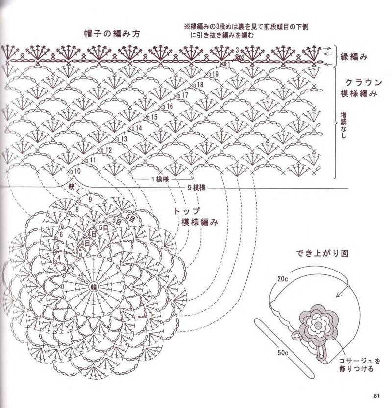Схема узора вязание крючком летних шляпок 963