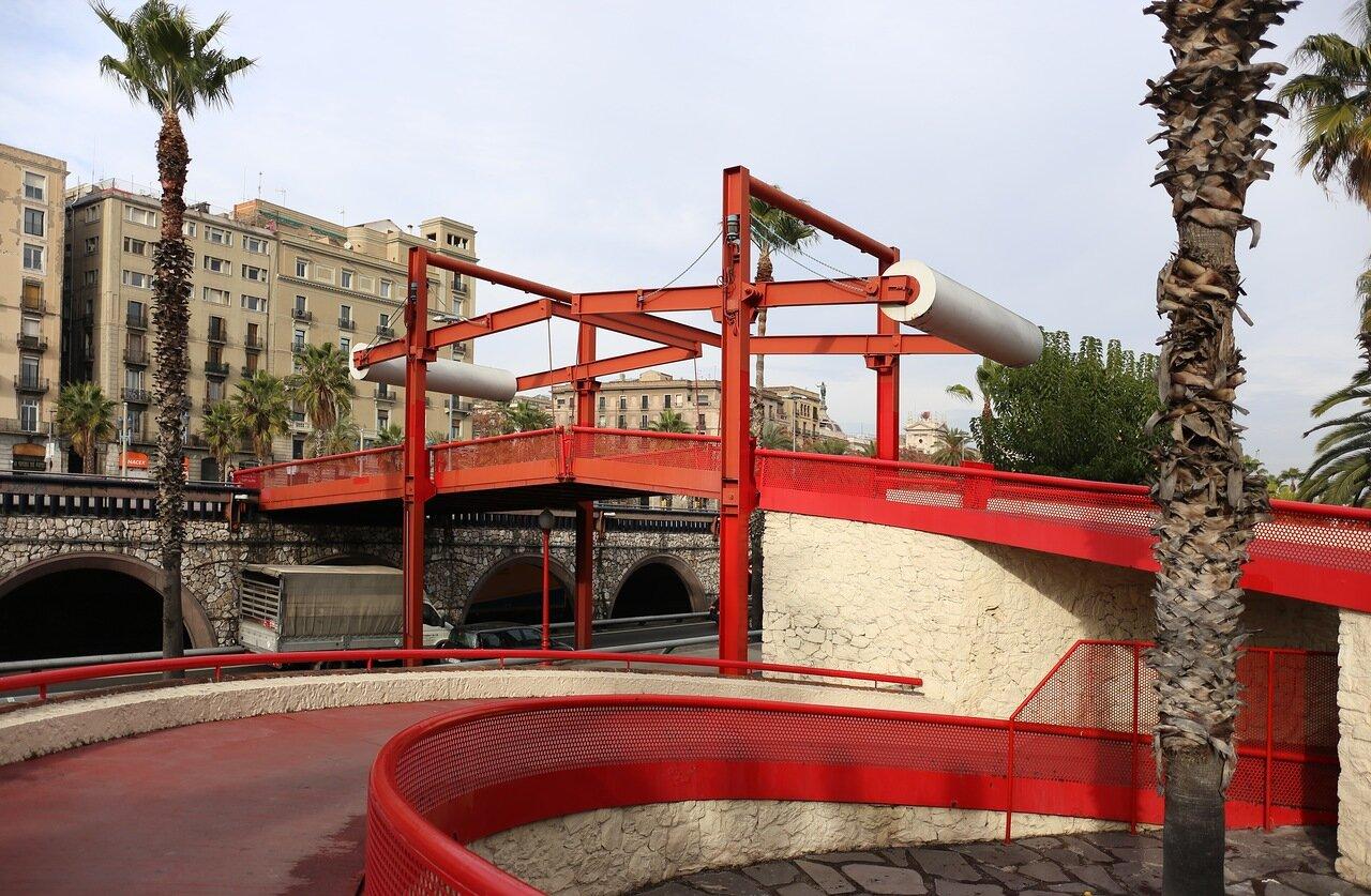 Барселона. Набережная Moll de la Fusta. Разводной мост