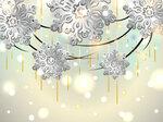 Christmas Horizontal Card with silver snowflakes