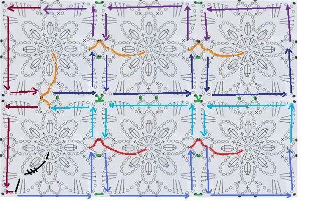 Вязание крючком схемы квадратных мотивов безотрывное вязание 19