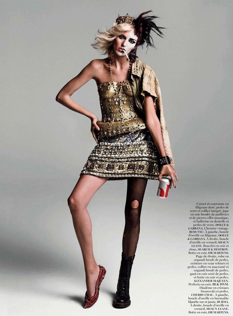 Боже, храни Королеву - Аня Рубик (Anja Rubik) в журнале Vogue Paris, август 2013 / фотограф Inez & Vinoodh