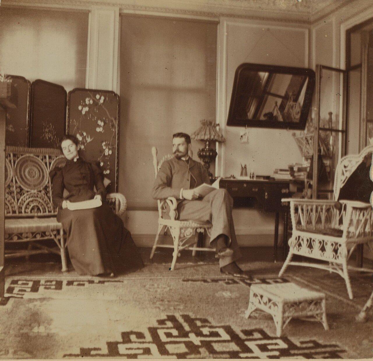 Эдеонора и Фредерик Прэй на террасе. 1900
